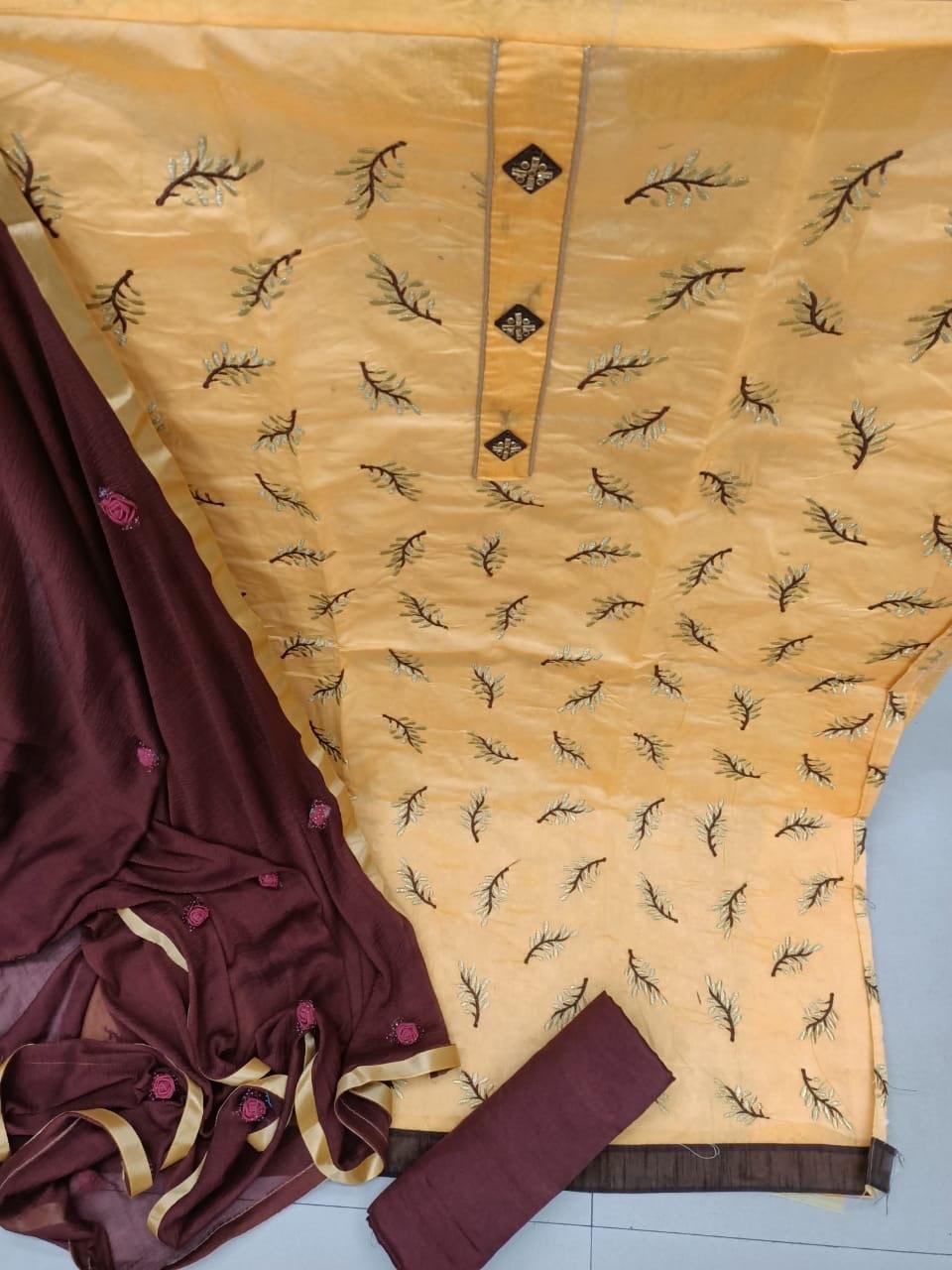 Semi stitched dress material