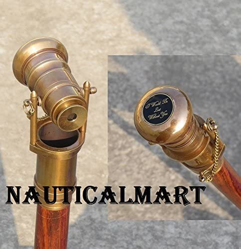 NauticalMart Hollywood Walking Stick Collectors Telescope Wooden Walk Cane Marine Prop