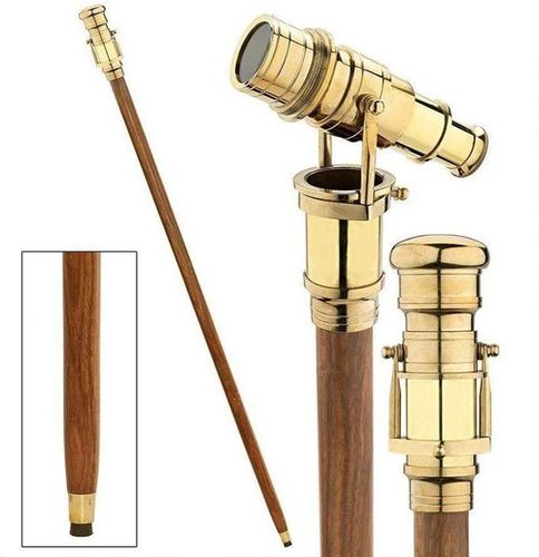 NauticalMart Vintage Brass Handle Victorian Telescope Head Fold able Steampunk Accessories Wooden Walking Stick Cane for Men and Women (Brass Finish)
