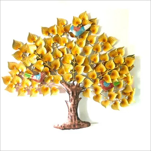 Bird on Golden Tree Wall Decor