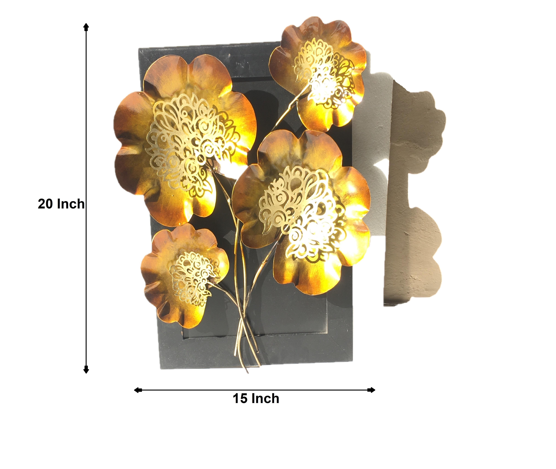 Metal Flower Leaf on Wooden Board Wall Decor