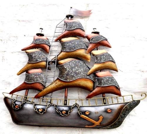 Metal Ship Mosaic With Led Wall Art