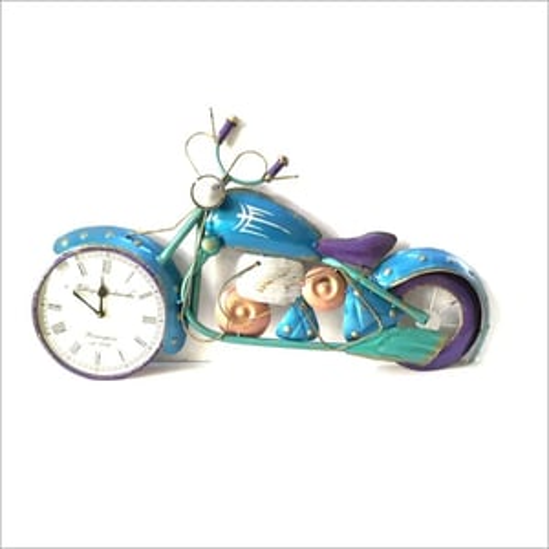 Blue Bike Miniature with Wall Clock Wall Hanging Decor