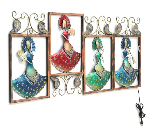 Multicolored musicians Lady Metal Wall Art