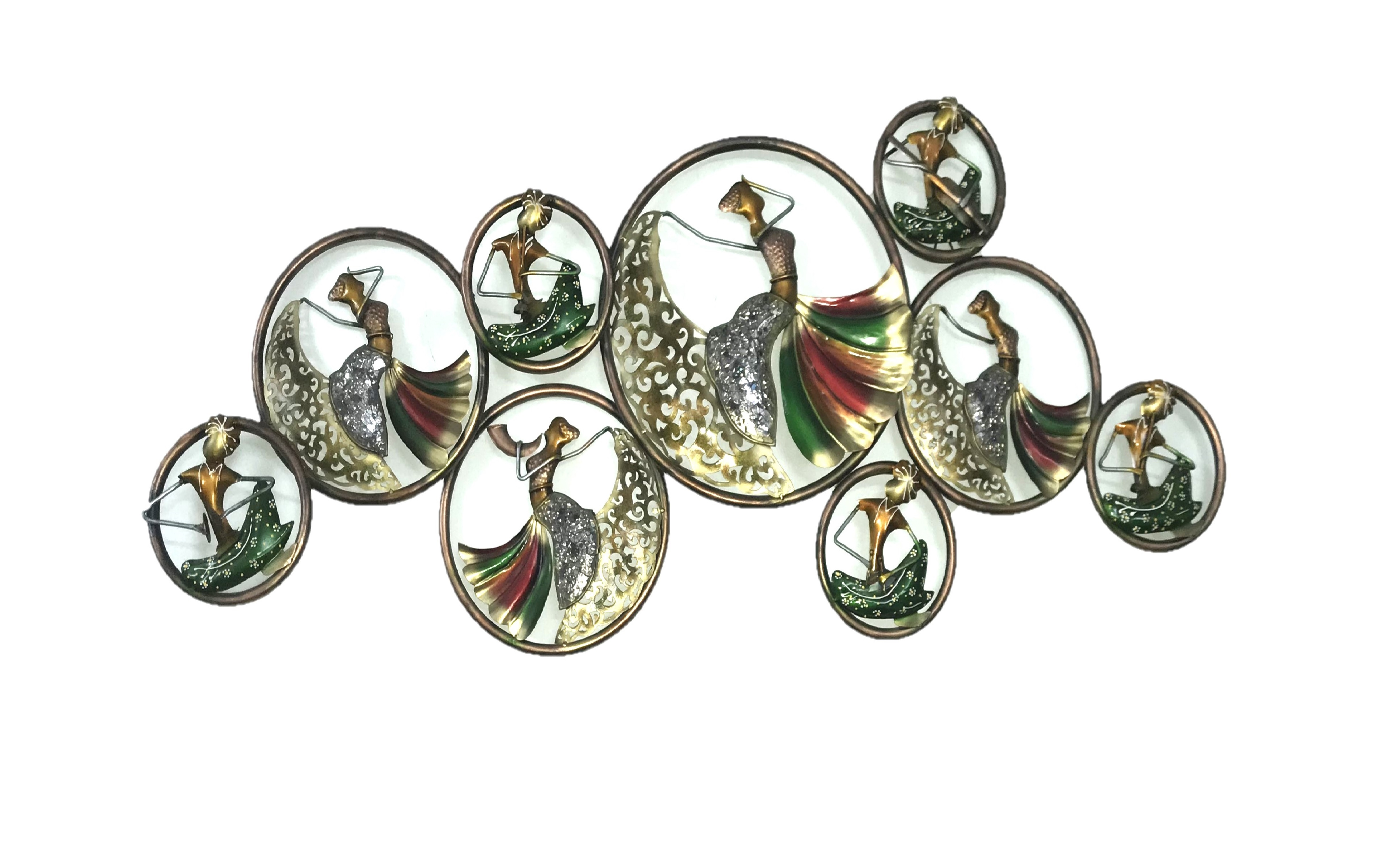 Mosaic Lady In Ring  metal wall decor