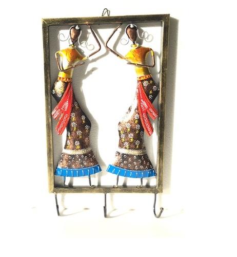 Rajasthani Woman Art Key Holder Hanging Hooks