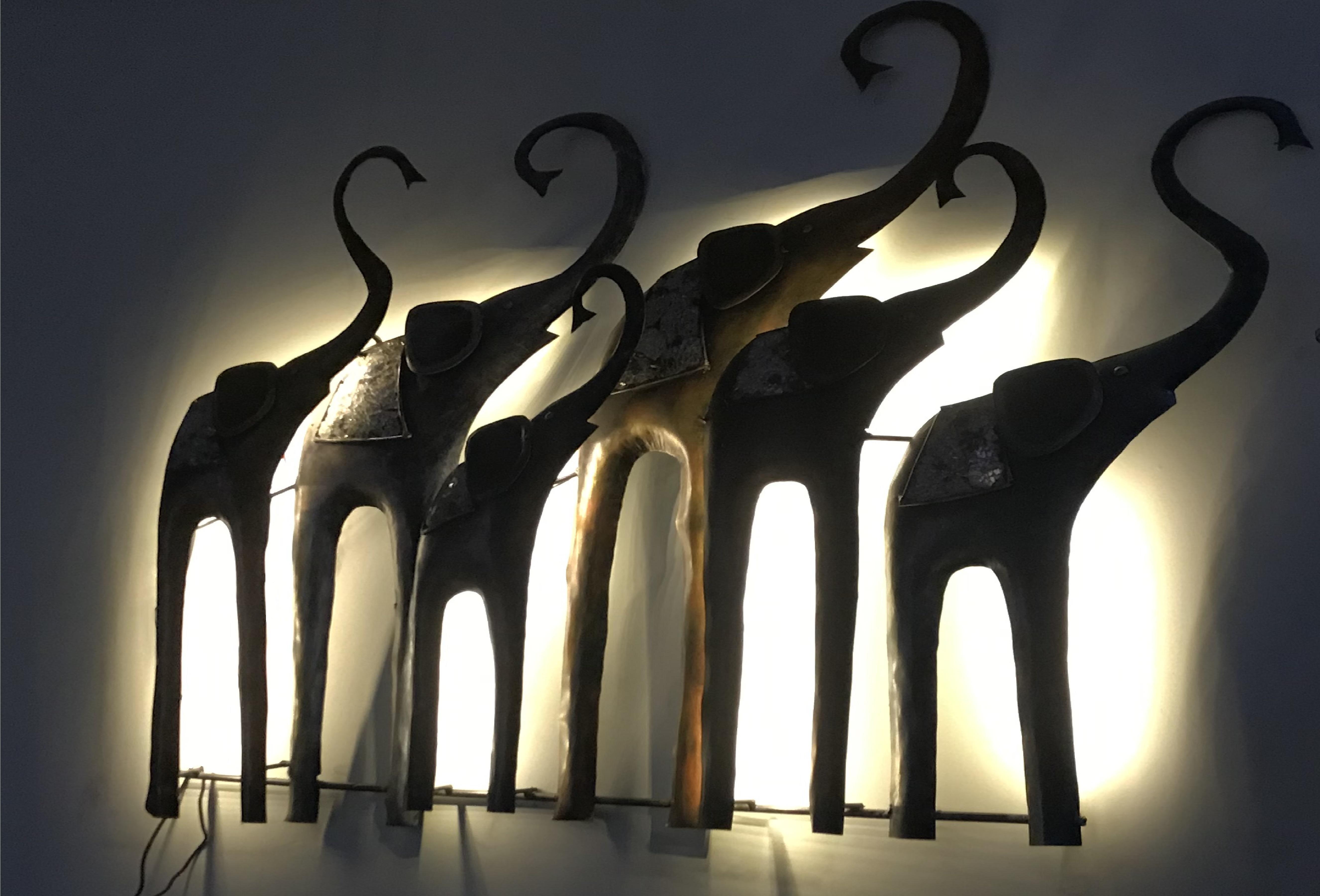 Elephant Family With LED Light Wall Decor