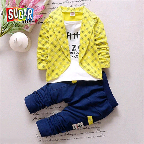 Baby Jacket With Check Pant Set