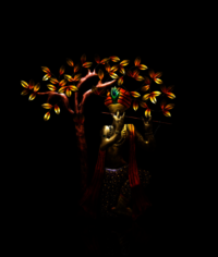 Metal Decorative Iron Krishna Tree With LED