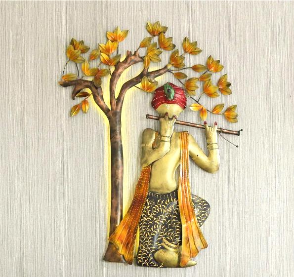 Metal Decorative Iron Krishna Tree With LED