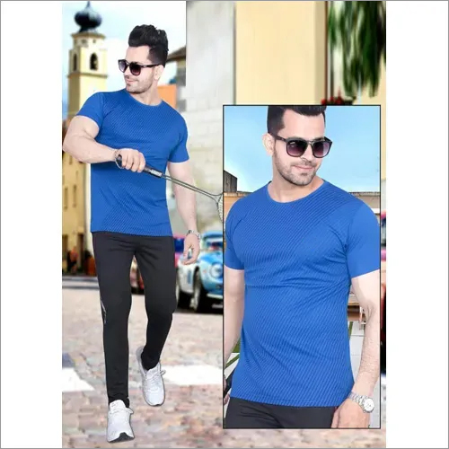 Mens Blue Round Neck T-Shirt