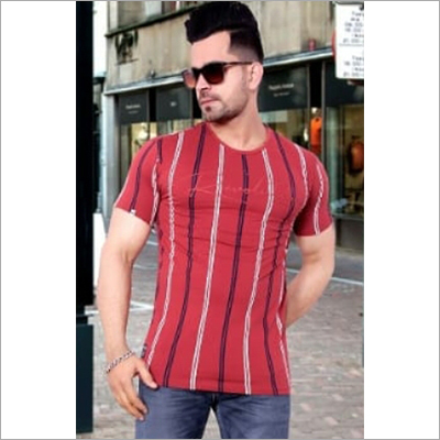 Mens Stripped Round Neck T-Shirt