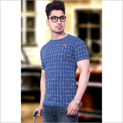 Mens Check Cotton T-Shirt