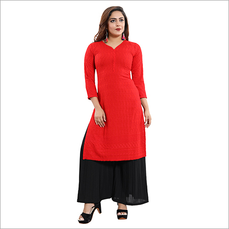 Ladies Rayon Chikan Plain Red Kurti
