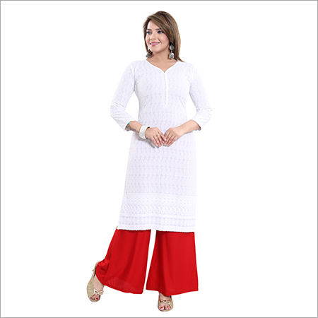 Ladies Rayon Chikan Plain White Kurti
