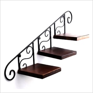 Steel and Wooden Wall Mounted Shelf