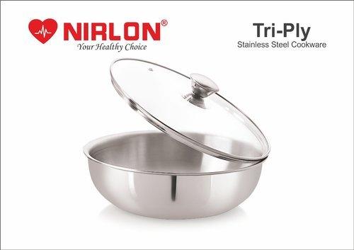 Nirlon Stainless Steel Tri-Ply Deep-Fry Pan Tasla, Deep Kadai With Lid , Deep Tasla Triply Cookware Interior Coating: Rust Proof Interior