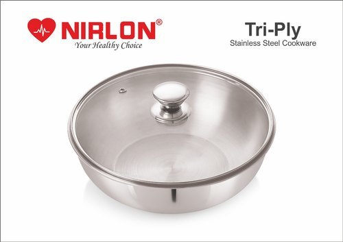 Nirlon Stainless Steel Tri-Ply Deep-Fry Pan Tasla, Deep Kadai with lid , Deep Tasla Triply cookware