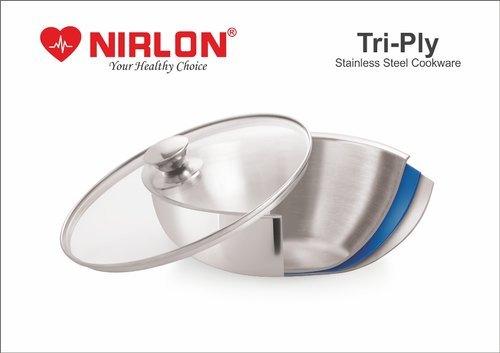Nirlon Stainless Steel Triply Induction Kadai, 240mm, Steel Aluminum Steel TRI PLY Technology