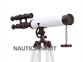 Nauticalmart Griffith Astro Telescope Floor Standing Antique Copper with White Leather Telescope 50
