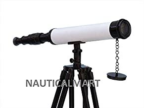 NauticalMart Floor Standing Oil-Rubbed Bronze-White Leather with Black Stand Harbor Master Telescope 50