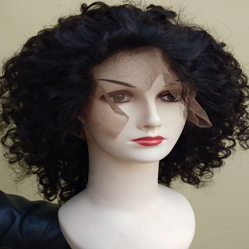 Front lace Natural Curly Human Hair wig