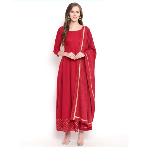Long Red Kurti With Plazzo