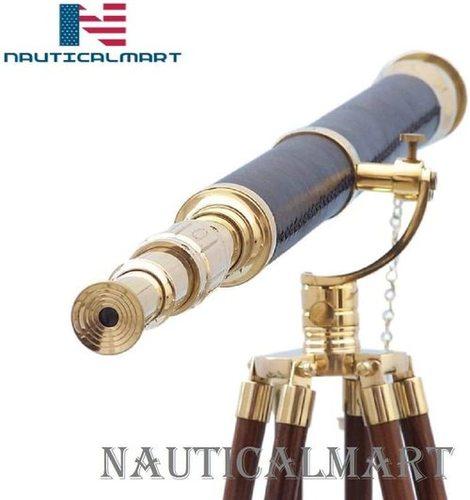 "Nauticalmart Floor Standing Brass- Leather Galileo Telescope 65""- Brass Telescope- with Free Concrete Rope Weight"