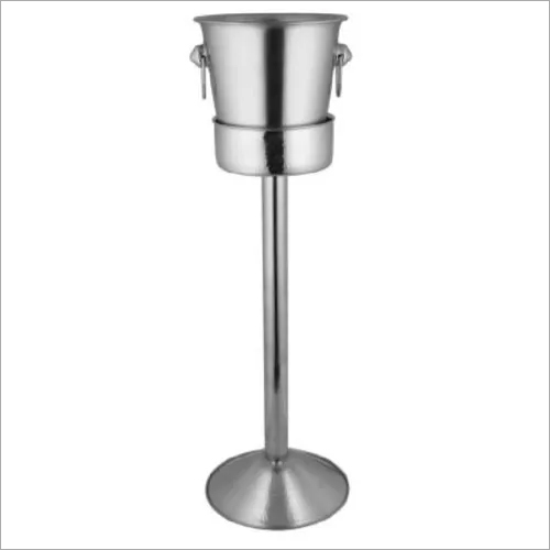 Wine Bucket with Pipe Stand SS 22 x 75 cm