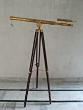 Brass Telescope Double Barrel Griffith Astro with Wooden Tripod Stand Telescope - with Free Gold Wire Basket