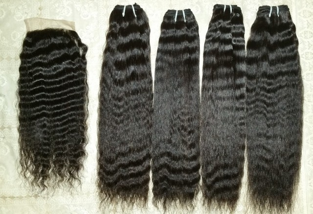 Kinky straight Human hair Extension