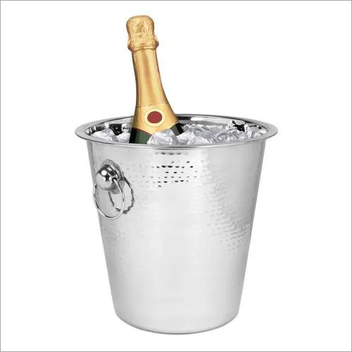 Wine Bucket with Ring Handle ss Hammered 22 x 20.5 cm