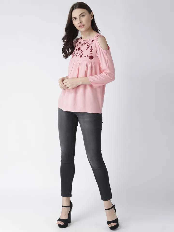 Pink Color Full Sleeve Casual Top