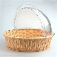 Bread Basket PP Ivory with PC Roll Top Cover Round 40 cm