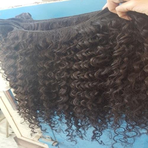 Steam processed kinky curly human hair