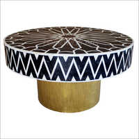 Bone Inlay Round Coffee Table