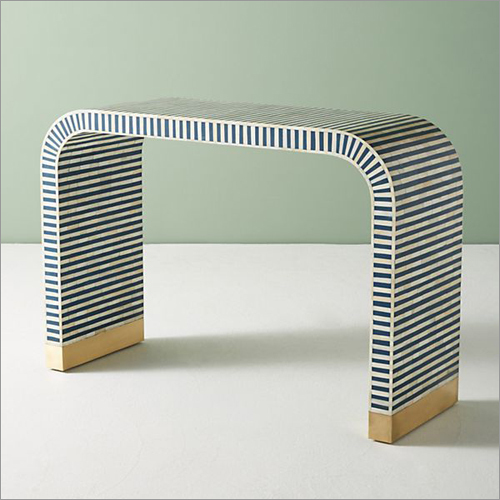 Bone Inlay White And Blue Waterfall Console