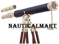 """Nauticalmart Nautical Decor Floor Standing Brass/leather Griffith Astro 64"""" Telescope - With Free Gold Wire Basket"""