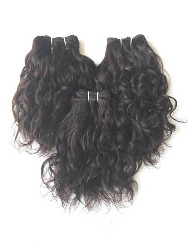 Remy Indian Temple wavy hair, Machine Wefts, full thick bundles