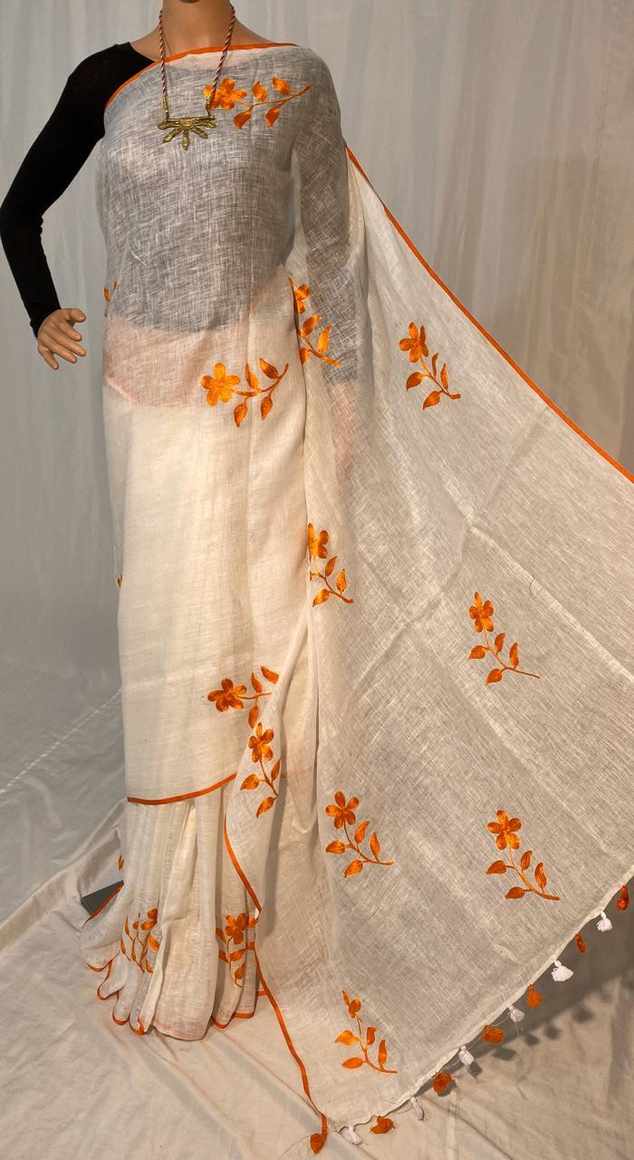 LINEN BY LINEN 120 COUNT MACHINE EMBROIDERY SAREE.