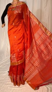 PURE DUPION RAW SILK HANDLOOM PARTY WEAR SAREES, WITH WORLI WEAVING BORDER AND PALLU.