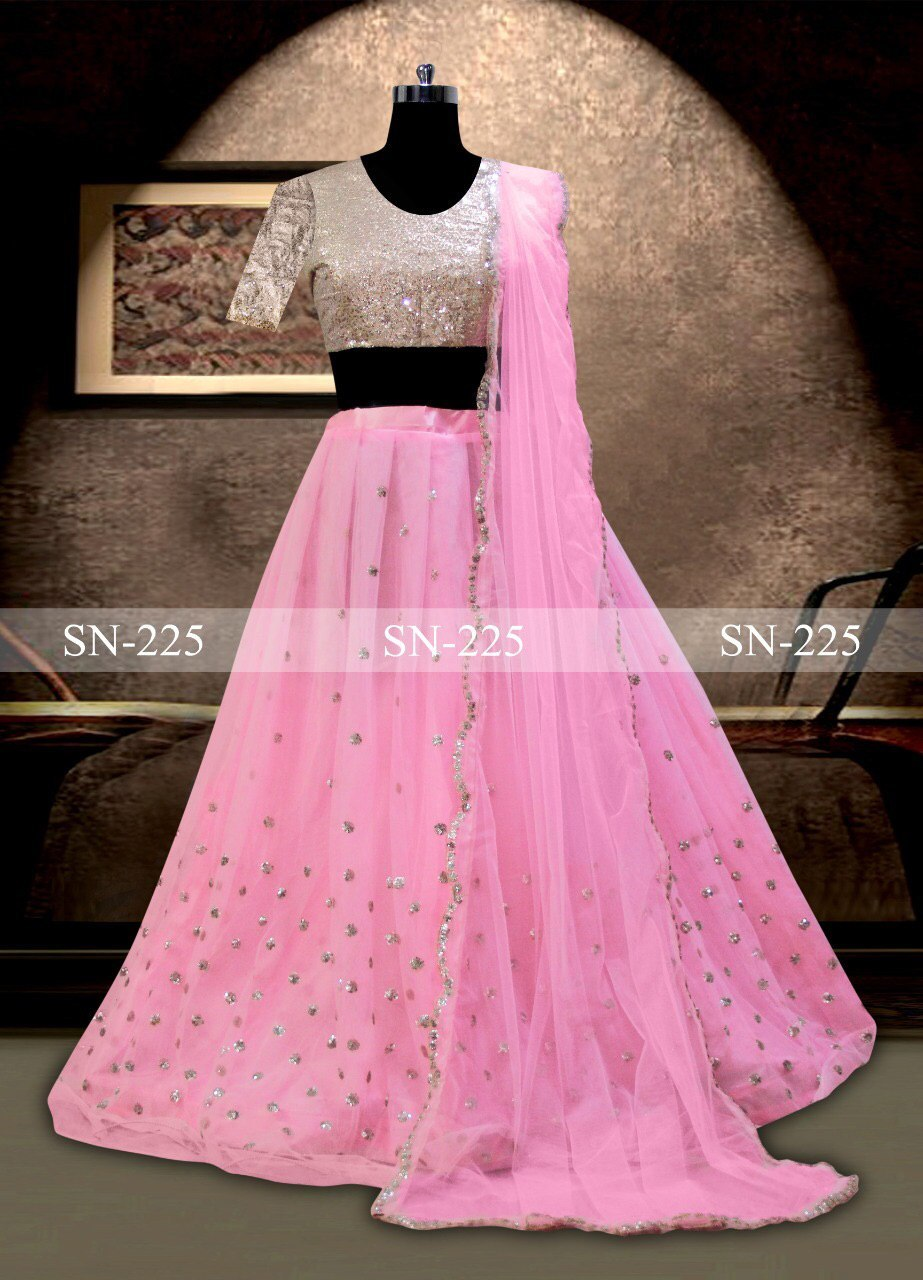 Designer Net Pink Lehenga Choli