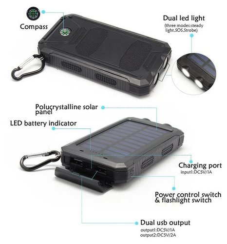 Solar Power Bank 20000Mah Capacity Dual USB Portable Solar Cargador Battery Charger