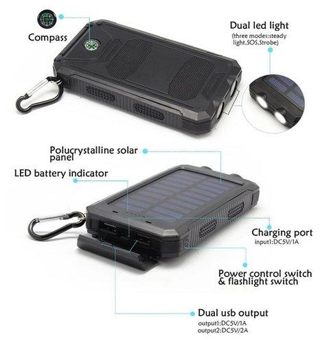 Solar Power Bank 20000Mah Capacity Dual USB Portable Solar Cargador Battery Charger