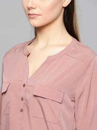 Ladies Pink Color V Neck Top