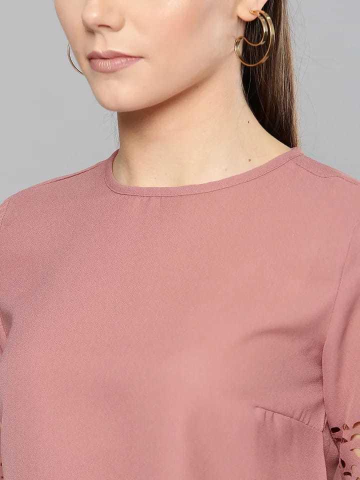 Ladies Pink Color V Neck Top