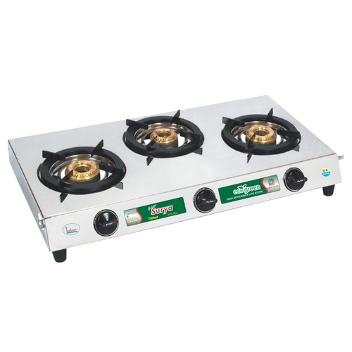 Trimax Stainless Steel -Three Burner Gas Stove