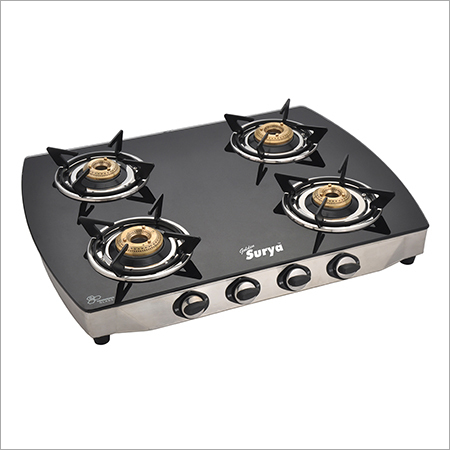 Curve Black Glass top - Four Burner Gas Stove
