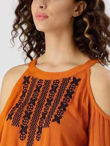 Brown Color Shoulder Cut Out Dress