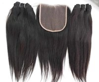 Wholesale unprocessed cuticle aligned indian Unprocessed Straight Hair 4x4 Lace Closure